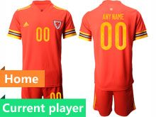 Mens Soccer Wales Natioal Team Current Player Red 2020 European Cup Home Short Sleeve Suit Jersey