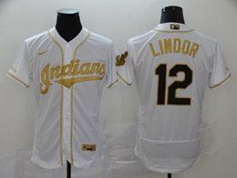 Mens Mlb Cleveland Indians #12 Francisco Lindor White Throwbacks Golden Flex Base Nike Jersey