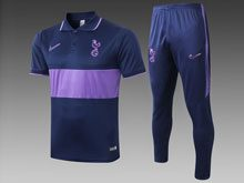 Mens 19-20 Soccer France National Team Purple Polo Shirt And Purple Sweat Pants Training Suit ( Turn-down Collar )