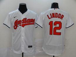 Mens Mlb Cleveland Indians #12 Francisco Lindor White Flex Base Nike Jersey