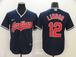 Mens Mlb Cleveland Indians #12 Francisco Lindor Blue Cool Base Nike Jersey