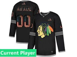 Mens Nhl Chicago Blackhawks Black Current Player 2020 National Flag Adidas Jersey