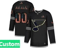 Mens Nhl St.louis Blues Custom Made Black 2020 National Flag Adidas Jersey