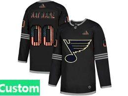 Mens Nhl St.louis Blues Custom Made Black 2020 National Flag Adidas Jersey