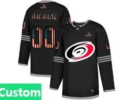 Mens Nhl Carolina Hurricanes Custom Made Black 2020 National Flag Adidas Jersey