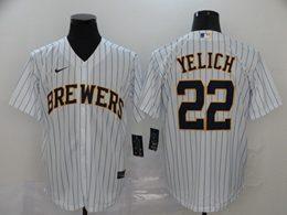 Mens Mlb Milwaukee Brewers #22 Christian Yelich White Stripe Cool Base Nike Jersey