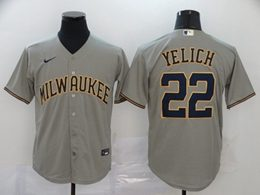 Mens Mlb Milwaukee Brewers #22 Christian Yelich Gray Cool Base Nike Jersey