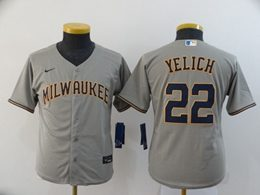 Women Youth Mlb Milwaukee Brewers #22 Christian Yelich Gray Cool Base Nike Jersey