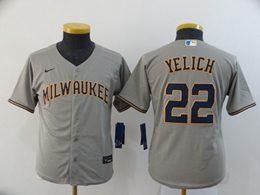 Women Youth Mlb Milwaukee Brewers #22 Christian Yelich Gray Cool Base Nike Jersey