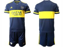 Mens 20-21 Soccer Atletico Boca Juniors ( Custom Made ) Blue Home Short Sleeve Suit Jersey
