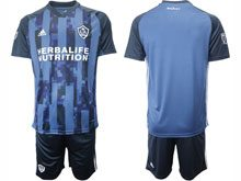 Mens 20-21 Soccer Los Angeles Galaxy Club ( Custom Made ) Blue Away Short Sleeve Suit Jersey