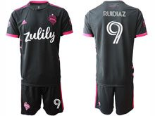 Mens 20-21 Soccer Seattle Sounders Club #9 Ruidiaz Black Away Short Sleeve Jersey