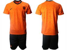 Mens Kids Soccer Holland Ntaional Team Custom Made Orange 2021 European Cup Home Short Sleeve Suit Jersey