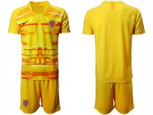 Mens Soccer Holland Ntaional Team ( Custom Made ) Yellow 2020 European Cup Goalkeeper Short Sleeve Suit Jersey