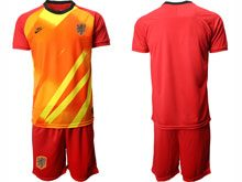 Mens Soccer Holland Ntaional Team ( Custom Made ) Red 2020 European Cup Goalkeeper Short Sleeve Suit Jersey