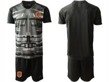 Mens Soccer Holland Ntaional Team ( Custom Made ) Black 2020 European Cup Goalkeeper Short Sleeve Suit Jersey
