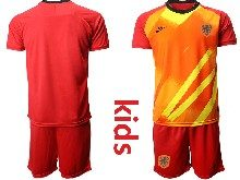 Kids Soccer Holland Ntaional Team ( Custom Made ) Red 2020 European Cup Goalkeeper Short Sleeve Suit Jersey
