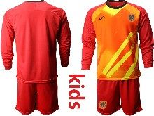 Kids Soccer Holland Ntaional Team ( Custom Made ) Red 2020 European Cup Goalkeeper Long Sleeve Suit Jersey
