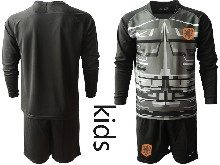 Kids Soccer Holland Ntaional Team ( Custom Made ) Black 2020 European Cup Goalkeeper Long Sleeve Suit Jersey