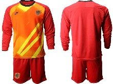 Mens Soccer Holland Ntaional Team ( Custom Made ) Red 2020 European Cup Goalkeeper Long Sleeve Suit Jersey