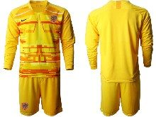 Mens Soccer Holland Ntaional Team ( Custom Made ) Yellow 2020 European Cup Goalkeeper Long Sleeve Suit Jersey