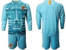 Mens Soccer Holland Ntaional Team ( Custom Made ) Blue 2020 European Cup Goalkeeper Long Sleeve Suit Jersey