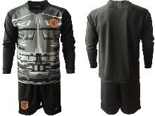Mens Soccer Holland Ntaional Team ( Custom Made ) Black 2020 European Cup Goalkeeper Long Sleeve Suit Jersey