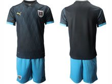 Mens Soccer Nation Austria ( Custom Made ) Black 2020 European Cup Away Short Sleeve Suit Jersey