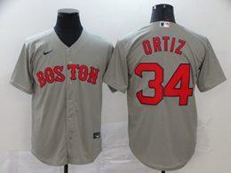 Mens Mlb Boston Red Sox #34 David Ortiz Gray Cool Base Nike Jersey