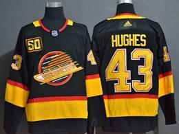 Mens Nhl Vancouver Canucks #43 Quinn Hughes Black Adidas 50th Jersey