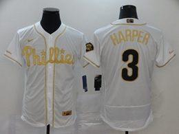 Mens Mlb Philadelphia Phillies Phillies #3 Bryce Harper White Throwbacks Golden Flex Base Nike Jersey