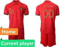Mens Kids Soccer Portugal National Team Current Player Red Home 2020 European Cup Short Sleeve Suit Jersey
