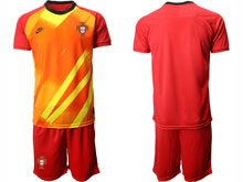 Mens Kids Soccer Portugal National Team Custom Made Red Goalkeeper 2020 European Cup Short Sleeve Suit Jersey