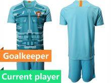 Mens Kids Soccer Portugal National Team Current Player Blue Goalkeeper 2020 European Cup Short Sleeve Suit Jersey