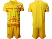 Mens Kids Soccer Portugal National Team ( Custom Made ) Yellow Goalkeeper 2020 European Cup Short Sleeve Suit Jersey