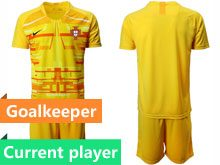Mens Kids Soccer Portugal National Team Current Player Yellow 6 Colors Goalkeeper 2020 European Cup Short Sleeve Suit Jersey