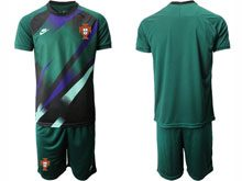 Mens Kids Soccer Portugal National Team Custom Made Dark Green Goalkeeper 2020 European Cup Short Sleeve Suit Jersey
