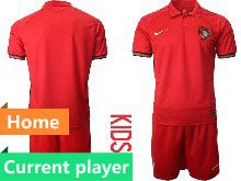 Kids Soccer Portugal National Team Current Player Red Home 2020 European Cup Short Sleeve Suit Jersey