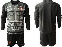 Mens Kids Soccer Portugal National Team ( Custom Made ) Black Goalkeeper 2020 European Cup Long Sleeve Suit Jersey