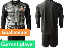 Mens Kids Soccer Portugal National Team Current Player Black Goalkeeper 2020 European Cup Long Sleeve Suit Jersey