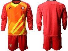 Mens Kids Soccer Portugal National Team Custom Made Red Goalkeeper 2020 European Cup Long Sleeve Suit Jersey