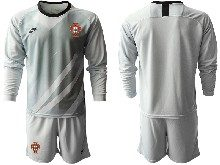 Mens Kids Soccer Portugal National Team ( Custom Made ) Gray Goalkeeper 2020 European Cup Long Sleeve Suit Jersey