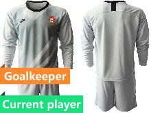 Mens Kids Soccer Portugal National Team Current Player Gray Goalkeeper 2020 European Cup Long Sleeve Suit Jersey
