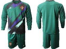 Mens Kids Soccer Portugal National Team Custom Made Dark Green Goalkeeper 2020 European Cup Long Sleeve Suit Jersey