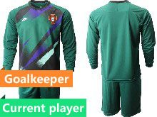Mens Kids Soccer Portugal National Team Current Player Dark Green Goalkeeper 2020 European Cup Long Sleeve Suit Jersey