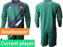 Mens Kids Soccer Portugal National Team Current Player Dark Green  6 Colors  Goalkeeper 2020 European Cup Long Sleeve Suit Jersey