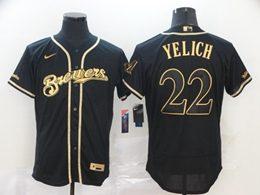 Mens Mlb Milwaukee Brewers #22 Christian Yelich Black Throwbacks Golden Flex Base Nike Jersey