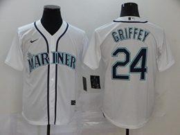 Mens Mlb Seattle Mariners #24 Ken Griffey Jr White Cool Base Nike Jersey