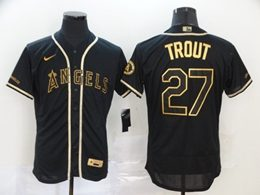 Mens Mlb Los Angeles Angels #27 Mike Trout Black Throwbacks Golden Flex Base Nike Jersey