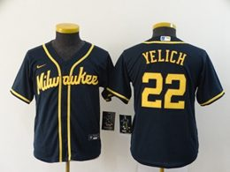Women Youth Mlb Milwaukee Brewers #22 Christian Yelich Blue Cool Base Nike Jersey